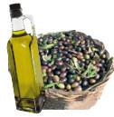bottiglia olio con cesta di olive