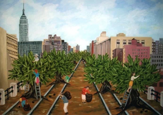 raccolta olive sulla high line New York